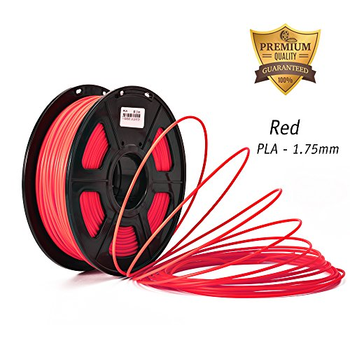 DAZZLE LIGHT 3D Printer PLA Filament 1.75mm Dimensional Accuracy +/- 0.02 mm 2.2 LBS (1KG) Spool, Red