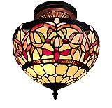 Tiffany Style Hanging Pendant Lamp Semi Flush Ceiling Fixture Shade 12