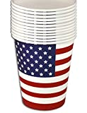 (PATRIOTIC PARTY CUPS) 8oz Paperware 4th of July USA Holiday Summer BBQ