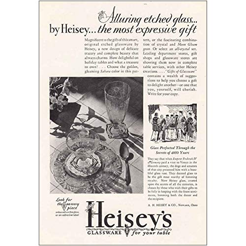 RelicPaper 1930 Heisey's Glassware: Alluring Etched Glass, A H Heisey & Co Print Ad