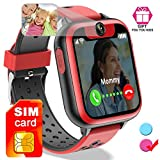 iGeeKid Kids Smart Watch - [Free SIM Card] Smart Phone Watch for Boys Girls SOS 2 Way Call Camera Puzzle Game Clock Touchscreen Smart Cell Phone Watch for Children Halloween Summer Travel Gifts
