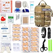 GRULLIN Emergency Tactical EMT First Aid Bleed Control Kit, Military Quick Release MOLLE Pouch with Trauma She