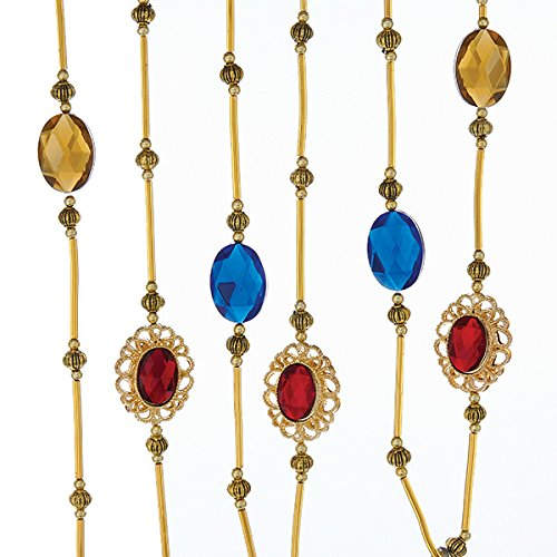 Copper Jewel (Kurt Adler 6 Strand Antique Gold With Blue, Red And Copper Jewels Garland)