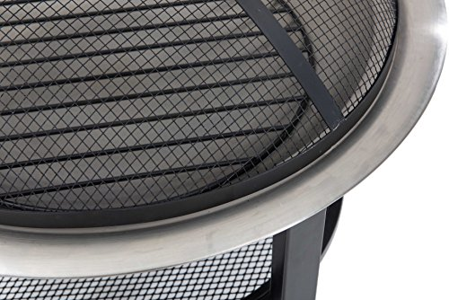 Sunjoy 26'' Verde Stainless Steel Fire Pit - Pewter finish Dome fire screen with high heat resistant paint Screen lift tool and wood grate included - patio, outdoor-decor, fire-pits-outdoor-fireplaces - 51g3o3gsd4L -