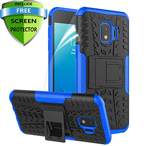 RioGree Phone Case for Samsung Galaxy J2 / Core / J2 Dash /J2 Pure Case, Heavy Duty Cell Phone Shockproof with Kickstand Cover Skin TPU, Blue from RioGree