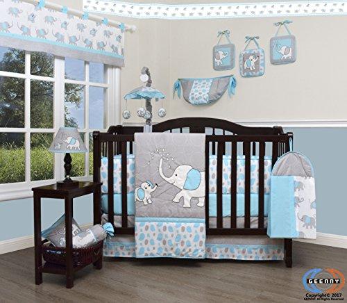 GEENNY Boutique little one 13 Piece Nursery Crib Bedding Set, Blizzard Blue Grey Elephant