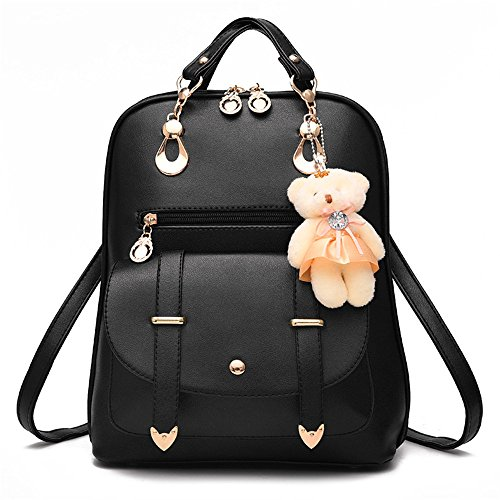 Price comparison product image Soft Leather Backpack Lovely Schoolbag Shoulder Bag Sports Knapsack (black)