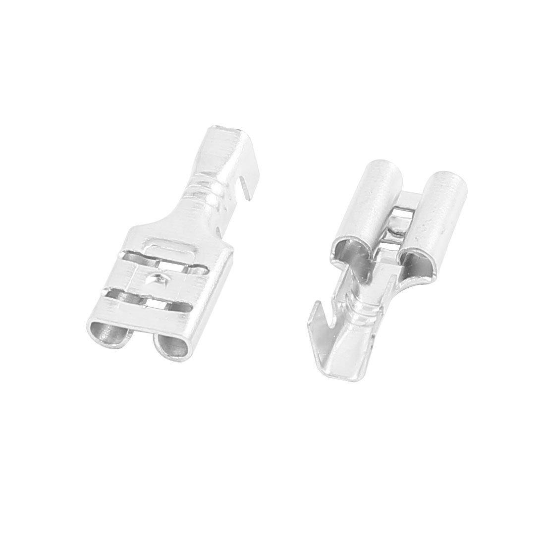 EbuyChX Silver Tone Terminal Connectors na May 10 piraso, 14 mm Haba Babae Spade Crimp
