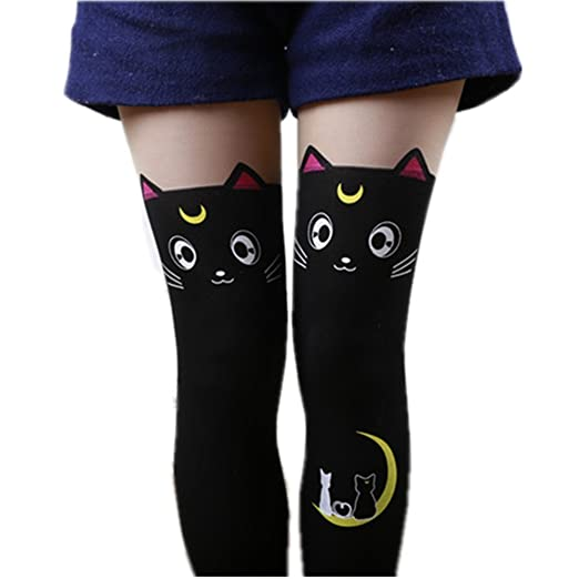 35c95e74629 Women s Sailor Moon Luna Cat Print Legging Tights Socks Cosplay Costume  Pantyhose (Black)