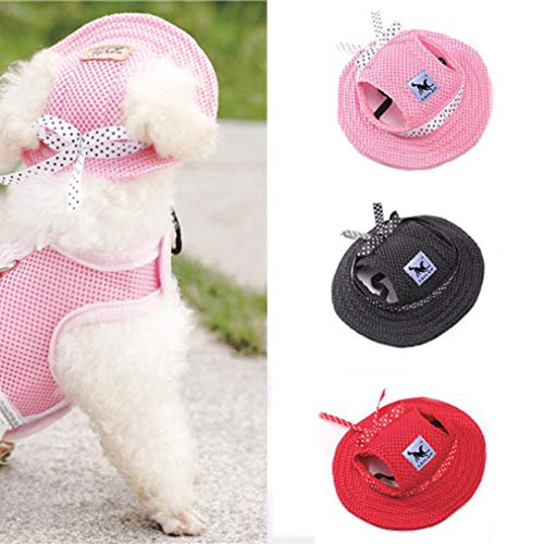 Clearance! Wensltd Pet Hat Bowknot Mesh Breathable Dog Sunscreen Baseball Cap Dogs Pets (S, Pink)