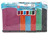 Stretchable Fabric Jumbo Size Book Cover, Assorted Solid Colors (Pack of 6)