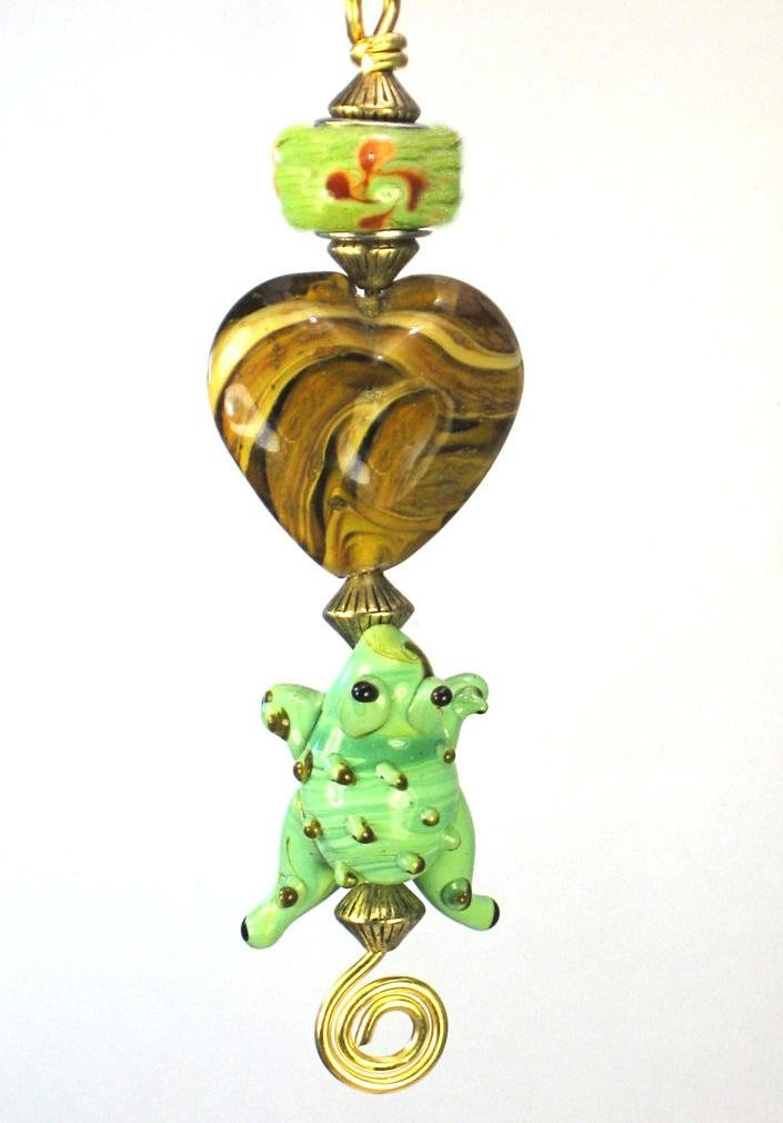 Green Tree Frog with Swirl Heart Ceiling Fan Pull Chain /Light Pull