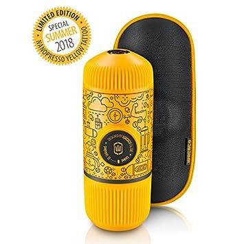 Wacaco Nanopresso Portable Espresso Maker in bundle con custodia protettiva Nanopresso, Arancia Tattoo Patrol Edition, 18 bar di pressione, macchina da caffè da viaggio extra piccola, gestita manualmente. Perfetto per l'uso in cucina e in ufficio Nanopress