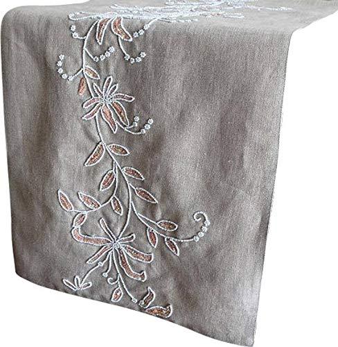 ベージュテーブルランナー35 x 300 cm, リネン&ビーズハンド刺繍ベージュ  真珠の刺繍入りリネンコットンエレガントな結婚式のテーブルのリネンモダンなカーペット 35 x 300 cm  B07CXRX9P2
