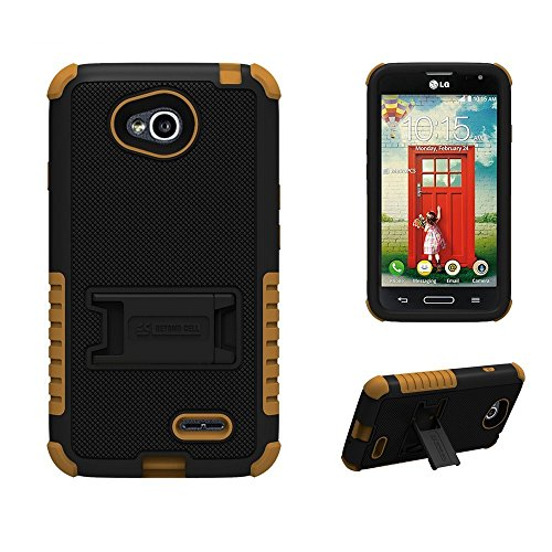 [Dirtproof] High Impact Armor Hybrid Hard + Soft Rugged Phone Case with 3 Layers of Protection & built in kickstand For LG Optimus L70 (Metro PCS)/ For LG Realm LS620 (Boost Mobile) - Black/Brown & Retail Packaging (Boost Mobile Phones Case Lg Realm)