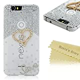 Google Nexus 6P Case - Mavis's Diary® 3D Handmade Bling Crystal Lovely Love Heart Cross with Shiny Diamonds Glitter Sparkle Rhinestone Design Clear Case Hard PC Cover for Huawei Google Nexus 6P (2015)