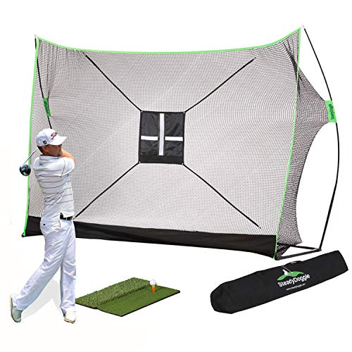Golf Net Bundle 4pc | Professional Patent Pending Design Golf Practice Net | Dual-Turf Golf Mat, Chipping Target and Carry Bag | The Right Choice of Golf Nets for Backyard Driving & Golf Hitting Nets