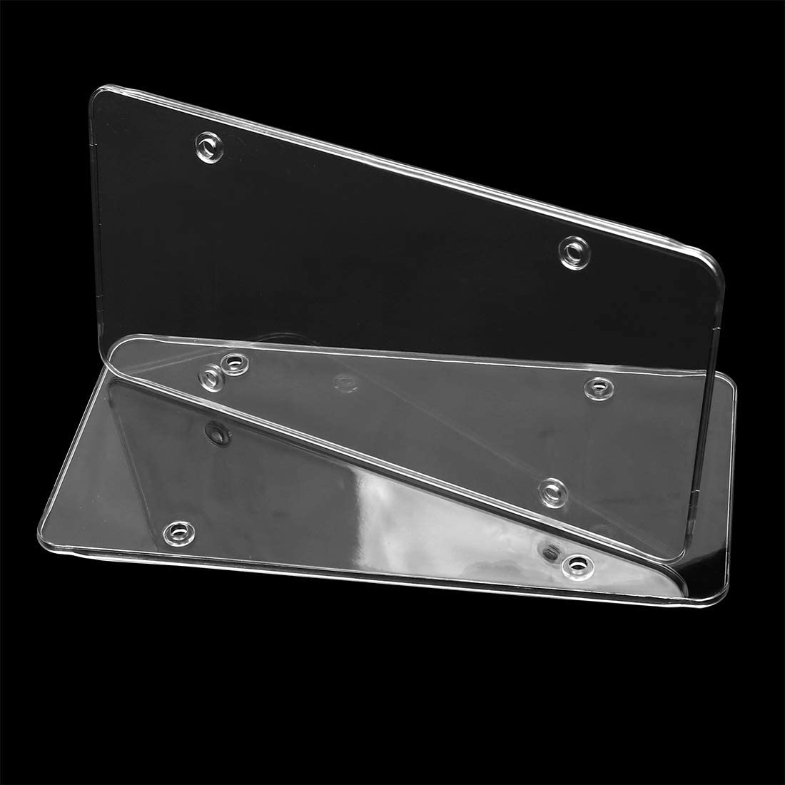 X AUTOHAUX 2pcs Clear Flat License Plate Cover Shield Frame Plastic Tag Car Truck Protector 30.5x15.2cm