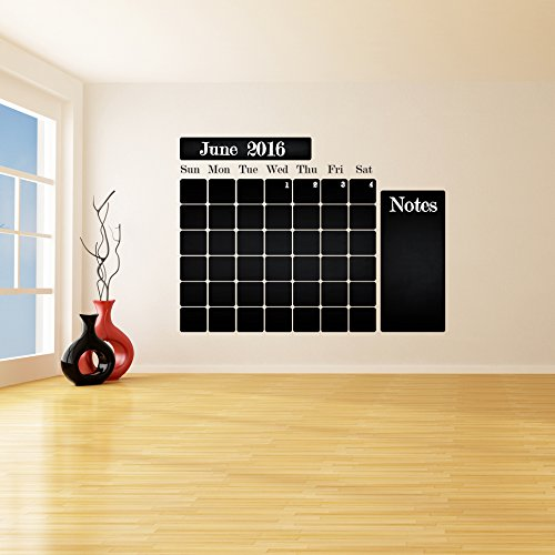 ( 94'' x 71'' ) Chalkboard Vinyl Wall Decal Calendar with Notes / Blackboard Month Planner Sticker for Drawing / Erasable Mural + Free Crayons Box