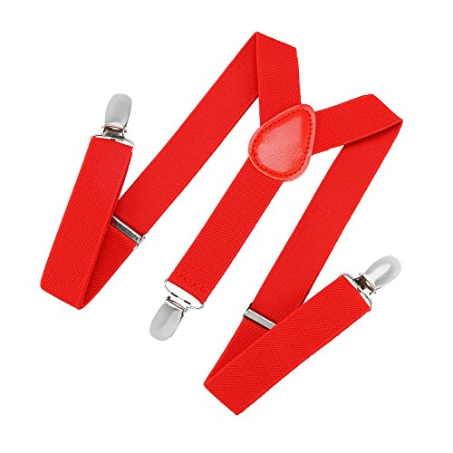 (Suspenders for Kids and Baby Adjustable Elastic Solid Color - Red (22 Inch))