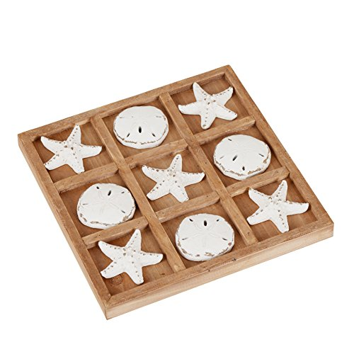 NIKKY HOME Wood Board Travel Game Tic Tac Toe for Fun,8.97 by 8.97-in Distressed White