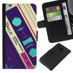 Planetar® Modelo colorido cuero carpeta tirón caso cubierta piel Holster Funda protección HTC One M7 ( Cassette Retro Music 90'S Vintage Record )