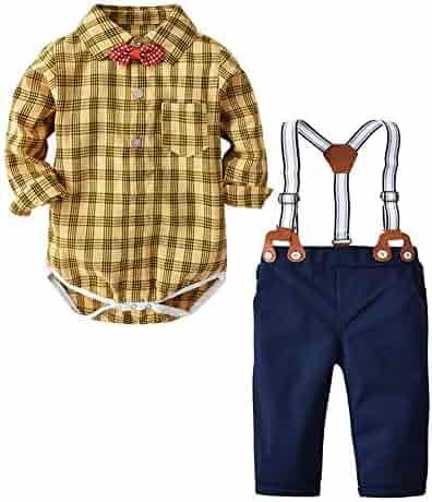 81eff8220 Toddler Bow Tie Gentleman Romper Top+Pants Baby Boy Girl Outfits Set