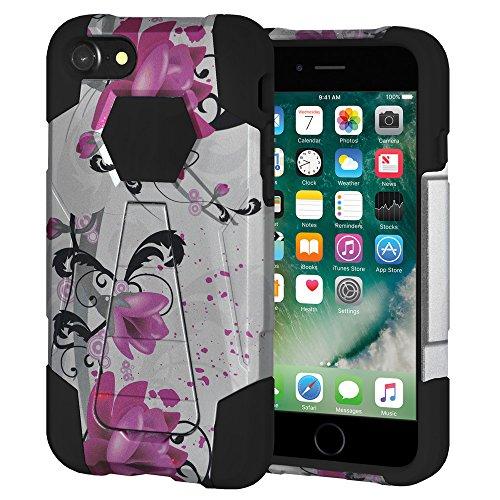 """Amzer Coque hybride double couche """"Violet Lily Étui à rabat avec béquille pour Apple iPhone 7"""