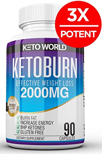 Best Keto Pills - 3X Potent (2000mg | 90 Capsules) - Weight Loss Keto Burn Diet Pills - Boost Energy and Metabolism - Exogenous Keto BHB Supplement for Women and Men - 90 Capsules