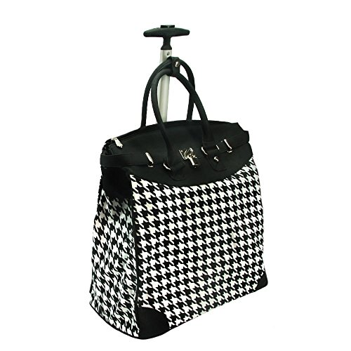 Classic Houndstooth 14-inch Rolling Laptop Travel Tote Black ()