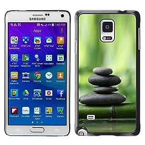 Paccase / SLIM PC / Aliminium Casa Carcasa Funda Case Cover para - Bamboo Green Forest Stones Plant Nature - Samsung Galaxy Note 4 SM-N910F SM-N910K SM-N910C SM-N910W8 SM-N910U SM-N910