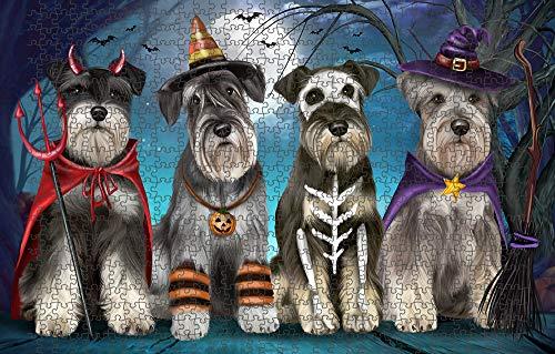Happy Halloween Trick or Treat Miniature Schnauzer Dog Puzzle with Photo Tin PUZL61689 (1000 pc. 20