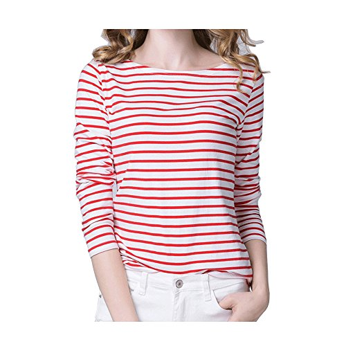 Kaachli Women's Long-Sleeve Striped Cotton T-Shirt (XL, Red)