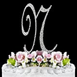 Completely Covered Swarovski Crystal Sparkling Wedding Cake Topper Letter N with LOVE Mini Favor Frame