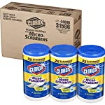 Clorox Disinfecting Wipes with Micro-Scrubbers, Bleach Free Cleaning Wipes - Crisp Lemon, 70 Count Each (Pack of 3) 21 DISINFECTING WIPES: Clean and disinfect with a powerful antibacterial wipe killing 99.9% of bacteria and viruses and remove common allergens around your home SANITIZING WIPE: Clorox Micro-Scrubber sanitizing wipes are thick with double sided texture to remove tough dirt, messes and baked on soils MULTI-SURFACE CLEANER: Clorox cleaning wipes clear drying formula powers through grease, soap scum and grime so you can conveniently tackle any tough surface including finished wood, sealed granite and stainless steel