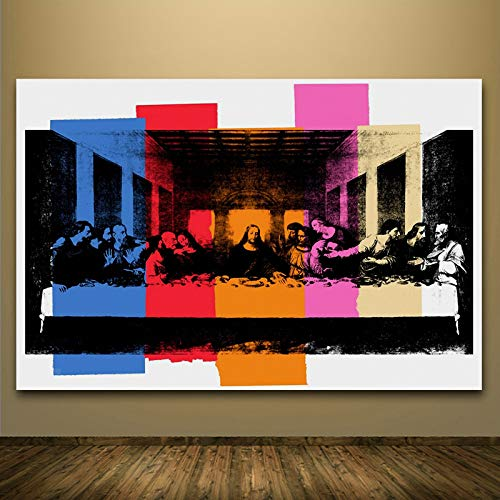 Faicai Art Jesus Christ The Last Super Canvas Paintings Colorful Wall Art Prints with Blue Red Orange Pink Color Blocks Modern Wall Decor Pictures for Living Room Bedroom Office Wooden Framed 32