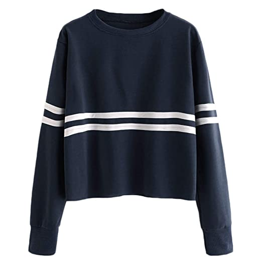 e3df1aeffdf4f Kanzd Women Blouse Womens Long Sleeve Stripe Printing Round Neck Sweatshirt  Blouse Tops at Amazon Women s Clothing store
