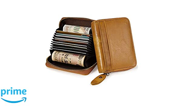 GADIEMKENSD Credit Card Holder RFID Blocking Leather Wallet Cute for Women and Man Coin Purse Protector Small Cards Case With Ladies Zipper Security Wallets Yellow brown