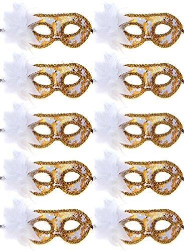 10pcs Set Mardi Gras Half Masquerades Venetian Masks Costumes Party Accessory (white-10pc) ()