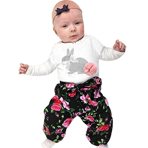 Baby Clothes Set, PPBUY Infant Baby Rabbit Romper + Flower Pants + Headband 3PCS Outfits Set (12M, - Center Band Picture