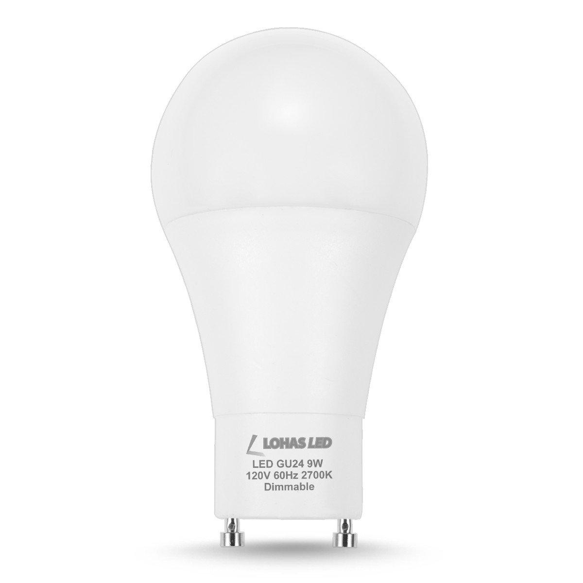 A19 LED Light Bulb GU24 Base 810LM LED Lamp 60 Watt Equivalent Warm White Lighting 2700K Replace CFL Light LOHAS GU24 Bulb 240 Degree Beam Angle 9W LED 4 Pack