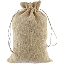 """CleverDelights 8"""" x 12"""" Burlap Bags with Natural Jute Drawstring - 10 Pack - Burlap Pouch Sack Favor Bag for Showers Weddings Parties and Receptions - 8x12 inch"""
