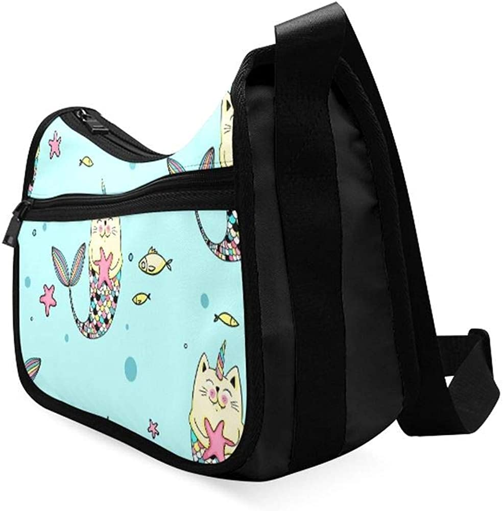 Lovely Kittens And Fish Messenger Bag Crossbody Bag Large Durable Shoulder School Or Business Bag Oxford Fabric For Mens Womens
