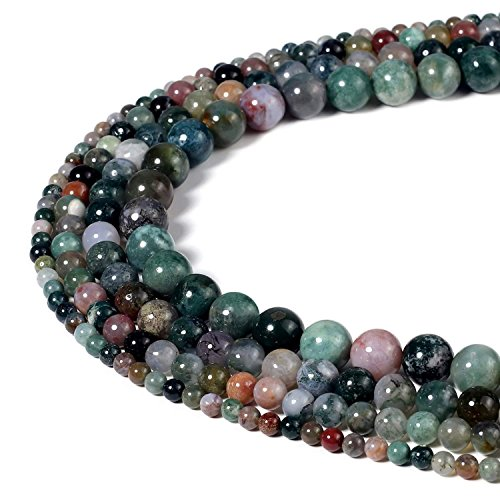 BEADNOVA Natural Indian Agate Beads Natural Crystal Beads Stone Gemstone Round Loose Energy Healing Beads with Free Crystal Stretch Cord For Jewelry Making (4mm, 94-96pcs)
