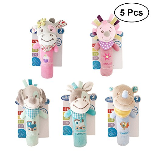 Rhino Crank - TOYMYTOY 5Pcs Baby Appease Toy Hand Crank BB Rattle Appease Plush Toy (Puppy + Pink Cow + Purple Hedgehog + Blue Cow + Rhino)