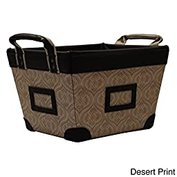 Desert Print Small Decorative Canvas Storage Basket with At-a-glance Label Holders