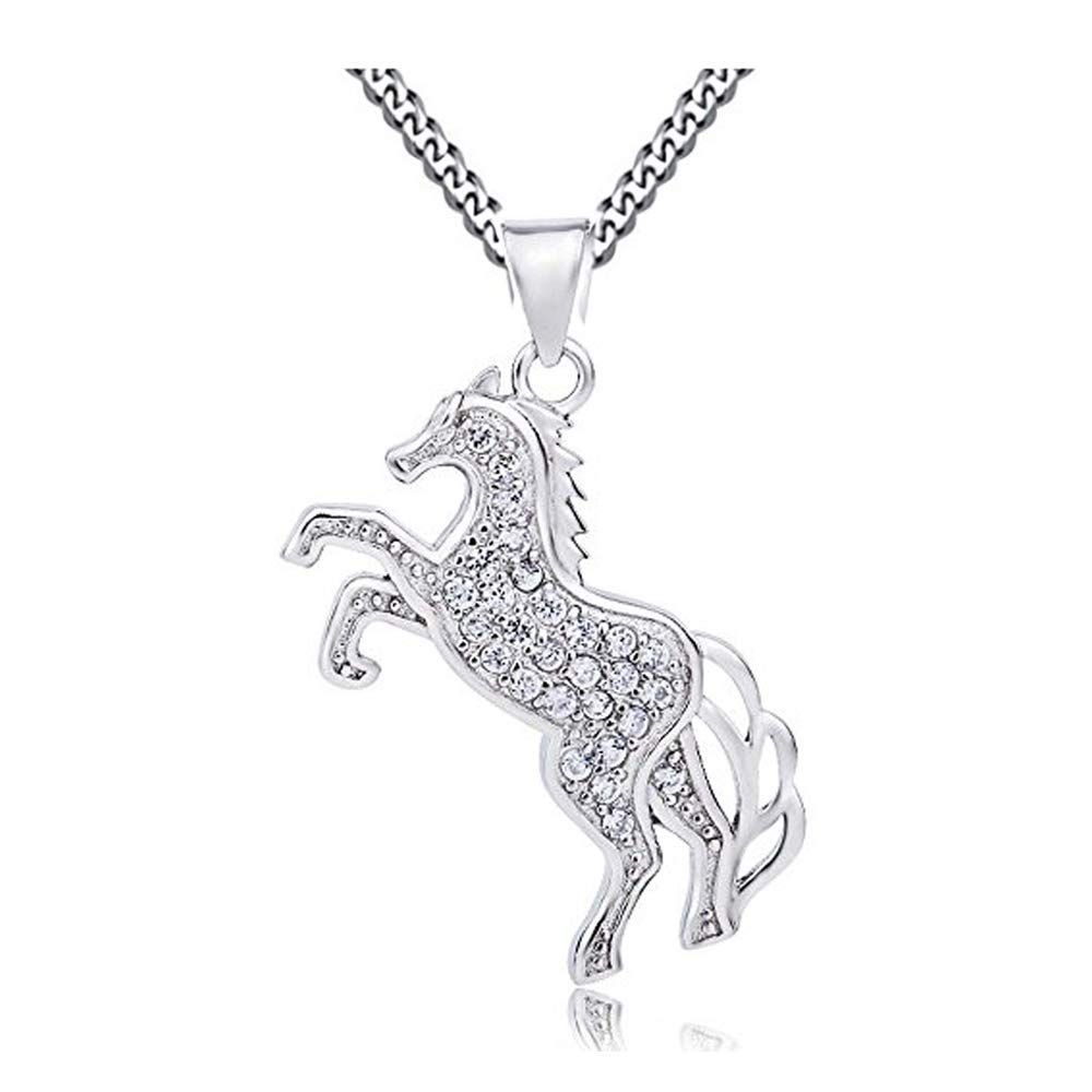 9b120a81b Crystal Wings 925 Sterling Silver Cubic Zirconia Success Pentium Horse  Pendant Necklace WIth Curb Chain 18In For Women Girls: Amazon.co.uk:  Jewellery