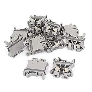 800V 57A 6mm2 UK6N plástico DIN Rail Terminal bloque gris 12 piezas