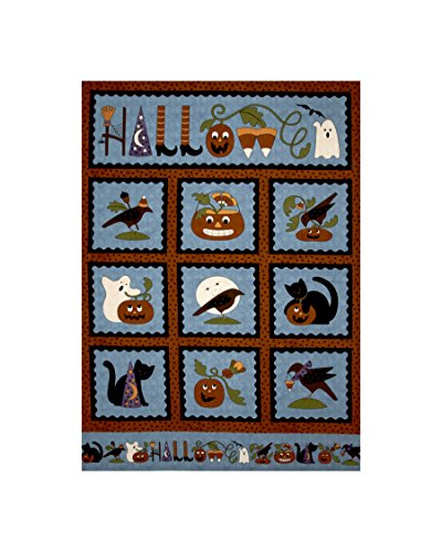 [Pumpkin Party Flannel Halloween 36 In. Panel Blue Fabric By The Yard] (Halloween Yard)