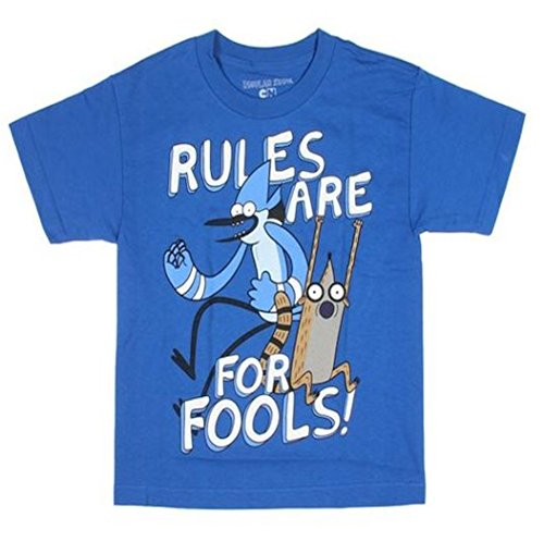 Regular Show Little & Big Boys Rules Are For Fools Mordecai & Rigby T-Shirt (X-Small 4/5)
